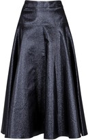 Osman Navy Flared Lurex Skirt