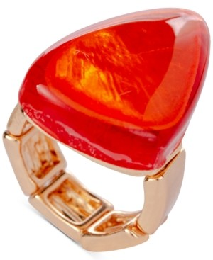 Style&Co. Style & Co Gold-Tone Orange Statement Stretch Ring, Created for Macy's