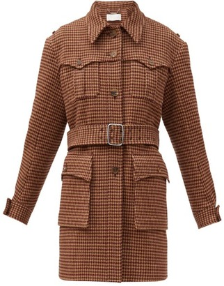 Chloé Houndstooth-tweed Belted Coat - Beige Multi