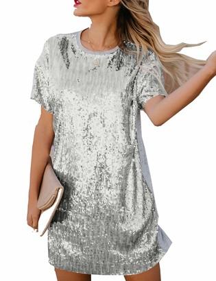 Naliha Women Sequin Dresses Summer Short Sleeve Patchwork Sparkly Casual Mini Dress Pink XXL