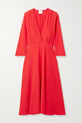 Forte Forte Crochet-trimmed Crepe Midi Dress - Tomato red