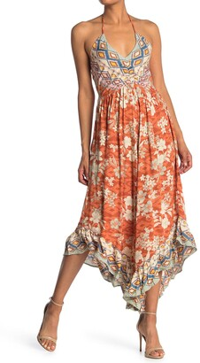 Angie Patterned Curve Hem Midi Dress