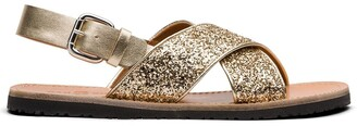 Car Shoe Glitter-Effect Slingback Sandals