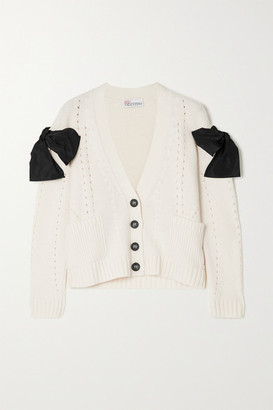 RED Valentino Bow-detailed Pointelle-knit Cardigan - Cream