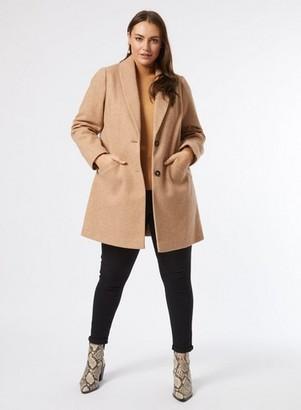Dorothy Perkins Womens Dp Curve Camel Shawl Collar Coat