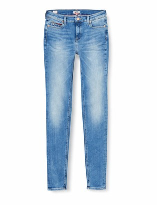 Tommy Jeans Women's Nora Mid Rise Skinny Vctyl Straight Jeans