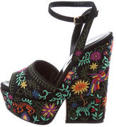 Sergio Rossi Floral Wedge Sandals w/ Tags