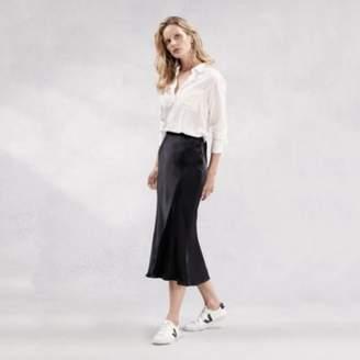 The White Company Bias Cut Satin Midi Skirt , Black, 6