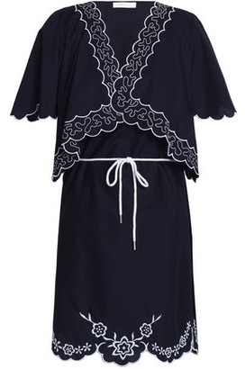 See by Chloe Scalloped Embroidered Cotton-poplin Mini Dress