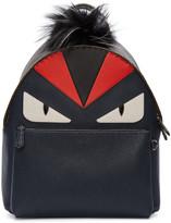 Fendi Navy Fur-Trimmed Monster Backpack