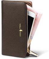 William POLO Women's Genuine Leather Zipper Slim Wallet Long Style Clutch Bag Handbag Multi Credit Card Holder Checkbook Purse Money Clips for Women POLO116 Black