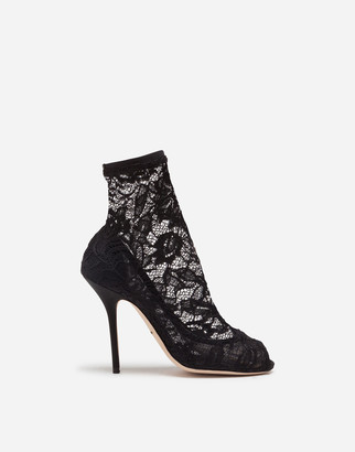 Dolce & Gabbana Stretch Lace And Gros Grain Open-Toe Booties