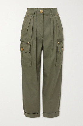 Balmain Pleated Cotton-blend Twill Cargo Pants - Army green