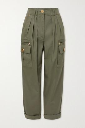 Balmain Pleated Cotton-blend Twill Cargo Pants