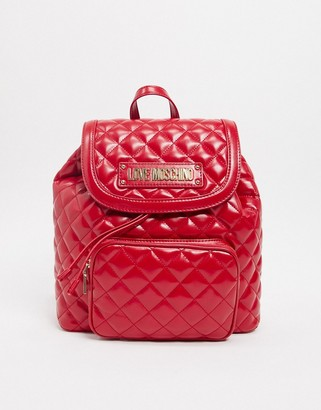Love Moschino quilted backpack with front pocket in red