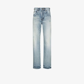 Saint Laurent High Waist Straight Leg Jeans
