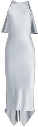 Cushnie Silk Cape-Back Midi Dress
