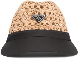 Prada Logo Plaque Visor Hat