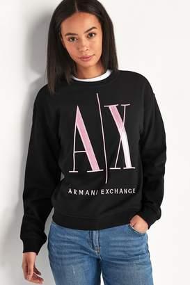 Armani Exchange Womens Pink/Black Logo Sweatshirt - Black