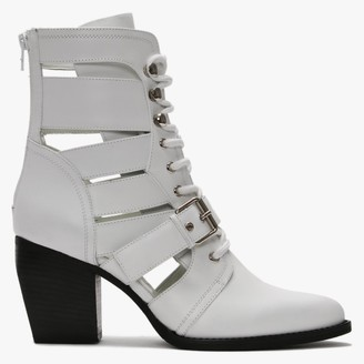 Daniel Piria White Leather Cut Away Ankle Boots