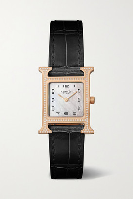 HERMÈS TIMEPIECES Heure H 21mm Small 18-karat Rose Gold, Alligator, Mother-of-pearl And Diamond Watch - Black