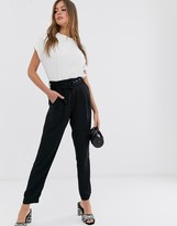 Pieces belted pants in black