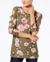 Almost Famous Juniors' Cutout-Sleeve Tunic