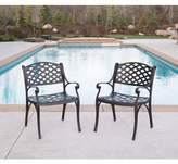 Walker Edison Cast Aluminum Outdoor Chairs in Brown (Set of 2)