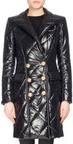 Balmain Shiny Double-Breasted Puffer Coat, Black