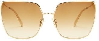 Celine Square Butterfly-frame Metal Glasses - Brown Gold