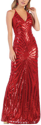 Royal Queen Women's Special Occasion Dresses Red - Red Sequin Stripe Cross-Back Gown & Shawl - Women