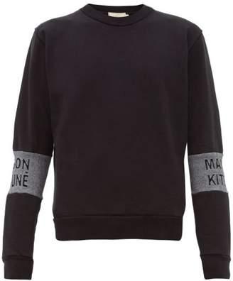 MAISON KITSUNÉ Logo Jacquard Cotton Jersey Sweatshirt - Mens - Black
