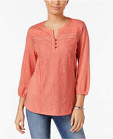 Style&Co. Style & Co Petite Lace-Front Henley Top, Only at Macy's