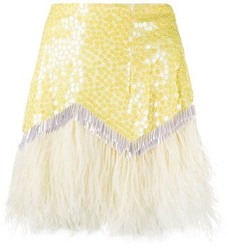 The Attico Sequin Feather Skirt