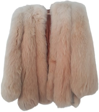BEIGE Non Signe / Unsigned Oversize Fox Coat for Women Vintage