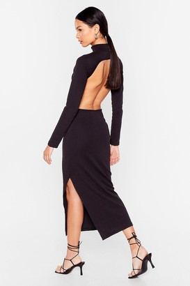 Nasty Gal Womens Open Your Eyes Ribbed Midi Dress - Black - 4
