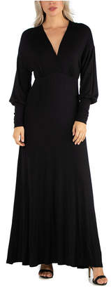 24seven Comfort Apparel Women Formal Long Sleeve Maxi Dress