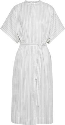 Joseph Jasper Belted Striped Silk-broadcloth Midi Shirt Dress
