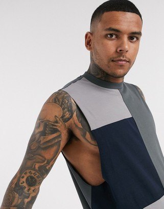 Asos Design DESIGN organic relaxed sleeveless t-shirt with dropped armhole and patchwork colour block in grey