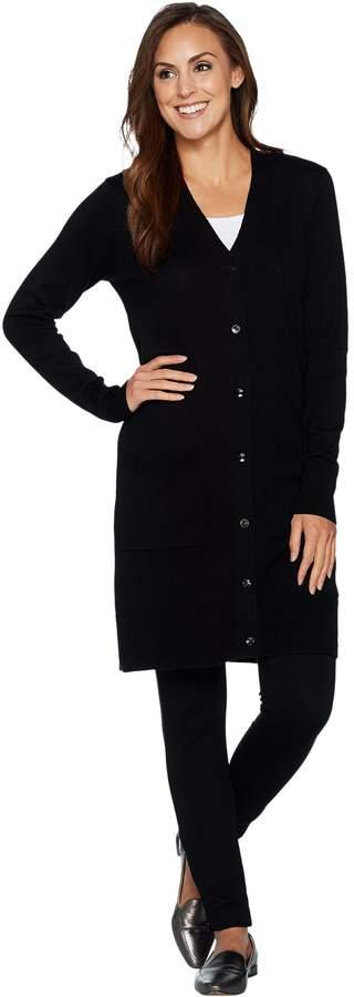 Denim & Co. Petite Long Sleeve Button Front Sweater Cardigan