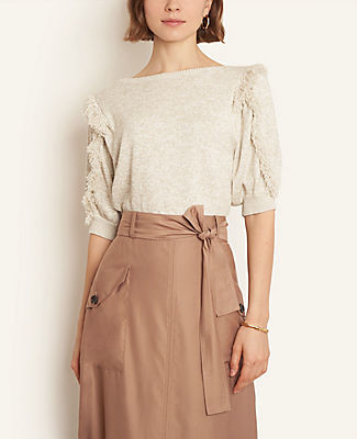Ann Taylor Petite Shimmer Fringe Puff Sleeve Sweater