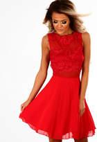 Pink Boutique Lala Land Red Crochet Tulle Skater Dress