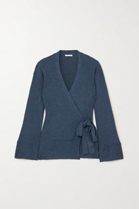 Skin Kylee Ribbed Cotton-blend Wrap Cardigan - Blue