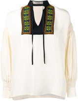 Etro embroidered open neck top - women - Silk/Cotton/Viscose/Metallic Fibre - 42