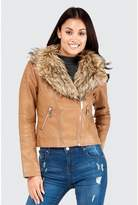Select Fashion Fashion Double Zip Fur Collar Pu Biker - size 6
