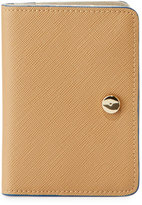 Neiman Marcus Saffiano Faux-Leather Snap Wallet, Camel