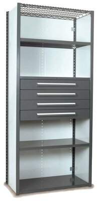 """Equipto V-Grip 84"""" Shelving with Drawers Unit - 4Drw/5Shelf Closed Starter, 4 drawers - (4) 4.5"""" H; 200 lb capacity Equipto Finish: Textured Green, Size: 84"""""""
