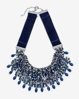 White House Black Market Hematite Blue Beaded Velvet Statement Necklace
