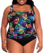 Robby Len By Longitude Leaf One Piece Swimsuit Plus