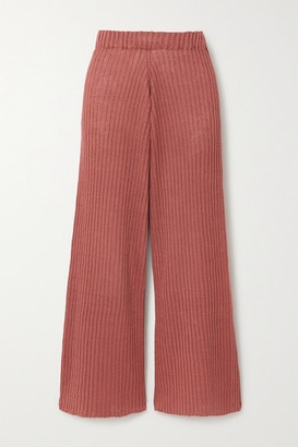 Base Range + Net Sustain Loch Ribbed Linen Wide-leg Pants - Pink